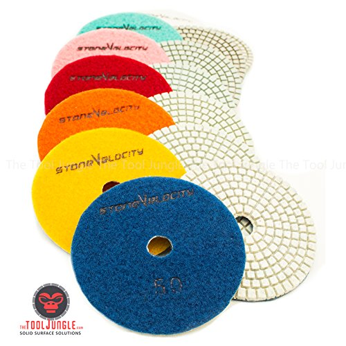 Diamond Polishing Pads 4 inch Wet/Dry 8 Piece Set Granite Stone Concrete Marble (Set of Pads NO - 4 Concrete Piece