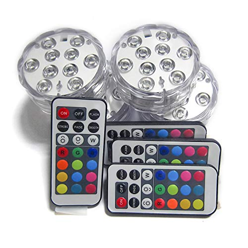 Creatrek RGB Color Changing LED Tea Lights, Battery Powered Submersible Vase Lamps W/ 21-Key Remote Control (4-Pack) (Tea Light What Is)