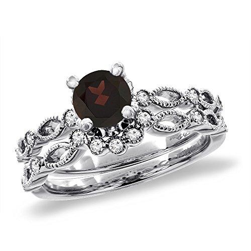 14K White Gold Diamond Natural Garnet 2pc Engagement Ring Set Round 5 mm, size - Gold 14k Garnet Natural Ring