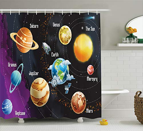 (Ambesonne Outer Space Decor Shower Curtain Set, Solar System of Planets Milk Way Neptune Venus Mercury Sphere Horizontal Illustration, Bathroom Accessories, 69W X 70L Inches, Black Purple)