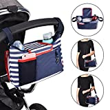 Baby Stroller Organizer Diaper Bag Large Capacity Universal Fit with Shoulder Strap Cup Holder Removable Diaper Changing Pad (Blue)