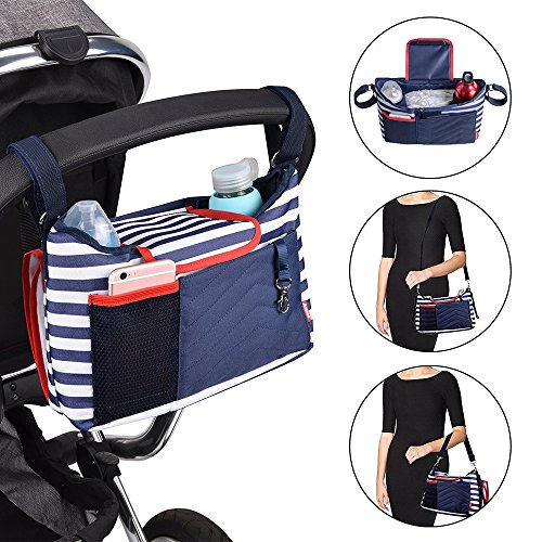 Baby Diaper Bag Jogger Stroller Organizer Large Capacity Universal Fit with Shoulder Strap Cup Holder Removable Diaper Changing Pad (Blue) by Ansee