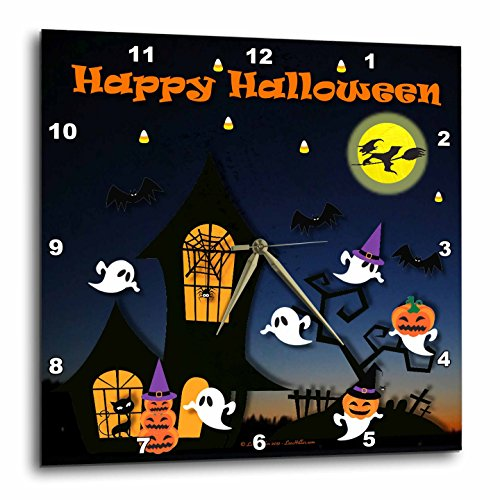 - 3dRose Lee Hiller Designs Holidays Halloween - Halloween Haunted House Ghosts Jack-o-Lanterns Bats - 15x15 Wall Clock (DPP_47429_3)
