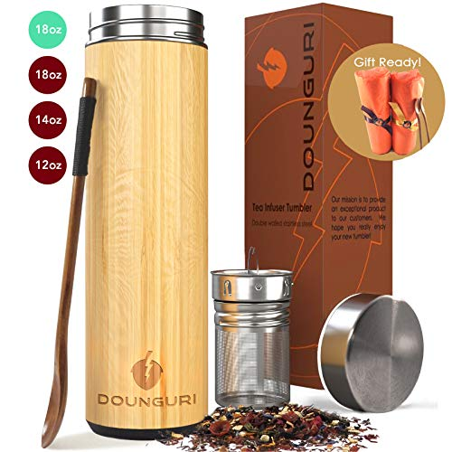 DOUNGURI Bamboo Tea Tumbler Mug with Strainer Infuser – 18 oz Vacuum Insulated Stainless Steel Thermos with Filter for Loose Leaf/Coffee Travel Bottle/Hot and Cold Water/Leak Proof/Gift Ready