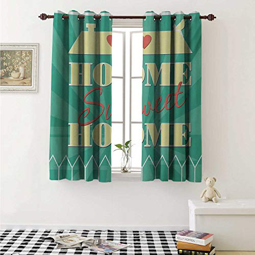 shenglv Home Sweet Home Waterproof Window Curtain Abstract Yellow Roof with a Heart and Bird Background Curtains Living Room W55 x L45 Inch Sea Green Pale Yellow Dark Coral ()