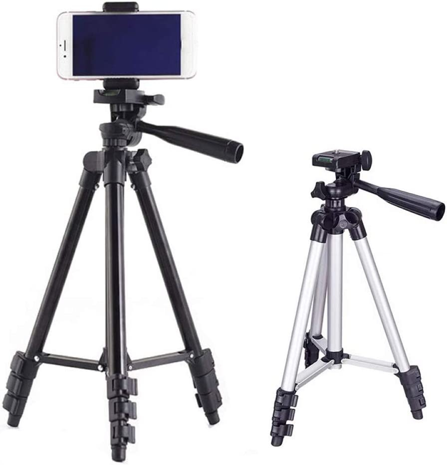 schicj133mm Portable Telescopic Rotary Camera Phone Tripod,for iPhone Samsung ,Bracket Stand with Bluetooth Shutter Silver