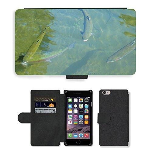 "Just Phone Cases PU Leather Flip Custodia Protettiva Case Cover per // M00127509 Truite arc poisson de truite de pêche // Apple iPhone 6 4.7"""