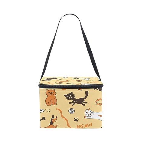 Bolsa de almuerzo para gatos y perros, diseño de dibujos animados, color amarillo