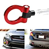 iJDMTOY (1) Sports Red Track Racing Style Aluminum Tow Hook For 2015-up Subaru WRX or STI