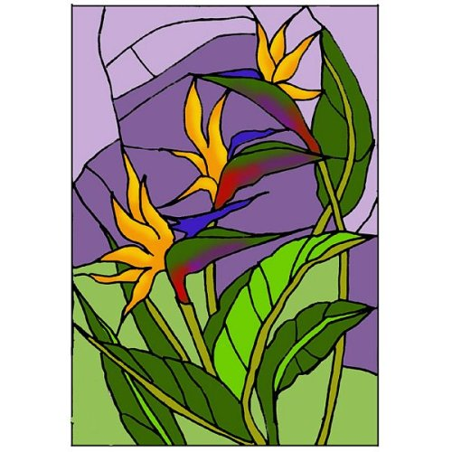 Bird of Paradise Vertical Art Glass Panel Wall Hanging Suncatcher 20 x 14