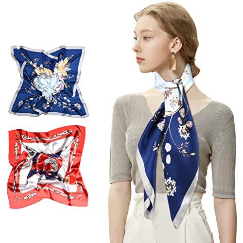 VBIGER Seidenschal Damenschal Bandana Kopftuch Schal 90 x 90 cm Bunte Weich Elegante Seidentuch Gedrucktes Muster