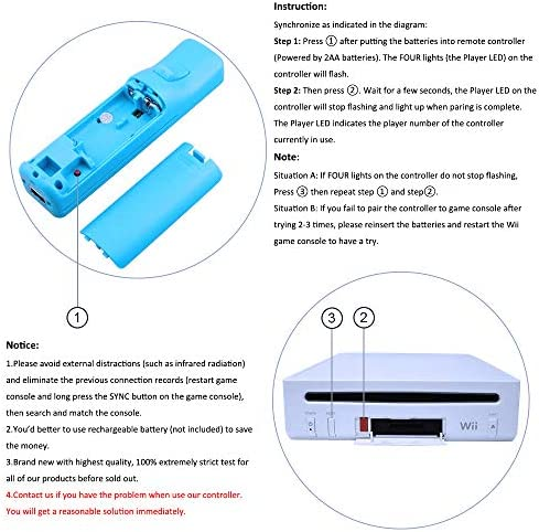 CooleedTEK Wii Remote Controller, Remote Plus Controller and Nunchuk Controller for Nintendo Wii and Wii U, with Silicon Case (Blue) 7