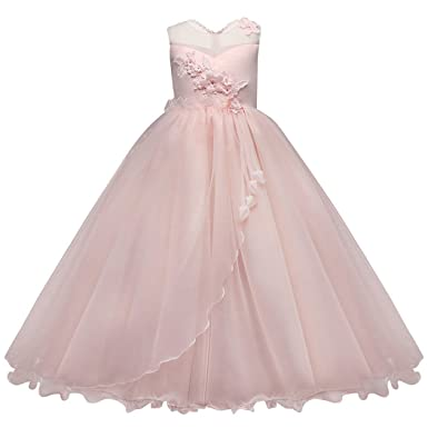 Jurebecia Girls Lace Formal Wedding Dress Kids Sleeveless Tulle Prom Ball Gown Pink Size 6