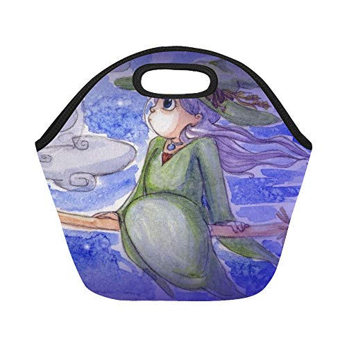 Insulated Neoprene Lunch Bag Little Witch Flying On Night Halloween Large Size Reusable Thermal Thick Lunch Tote Bags For Lunch Boxes For Outdoors,work, Office, School ()