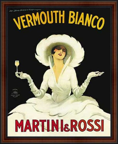 Martini & Rossi Vermouth Bianco by Marcello Dudovich 1918 Framed Vintage Advertising Reproduction Poster Custom Made Real Wood Dark Walnut with Black Trim Frame (18 1/4 x 22 1/4)