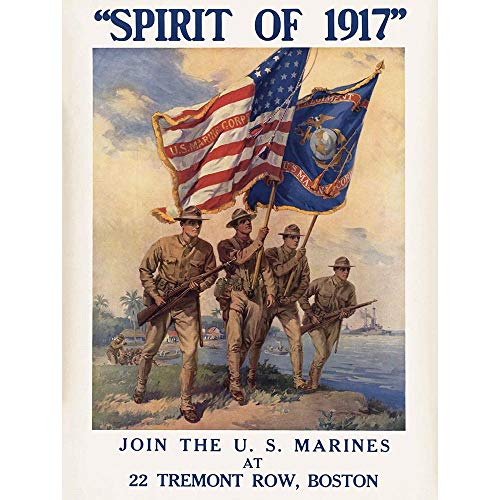 Wee Blue Coo Propaganda War WWI USA Enlist Us Marine Corps Flag Gun Soldier Unframed Wall Art Print Poster Home Decor Premium