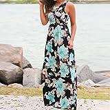 HTHJSCO Womens Floral Print Crisscross Back Short Sleeve Long Maxi Dress, Round Neck Sleeveless Casual Dress (Blue, L)