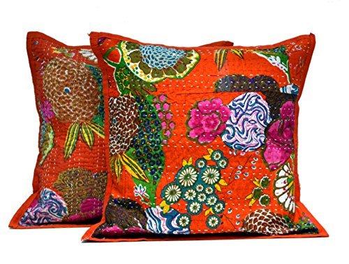 Krishna Mart 2 Orange Indian Kantha Stitch Handmade Floral Decorative Throw Pillow Cases Cushion -