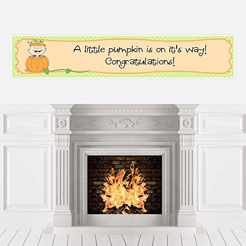 Big Dot of Happiness Little Pumpkin - Fall Baby Shower Decorations Party Banner -