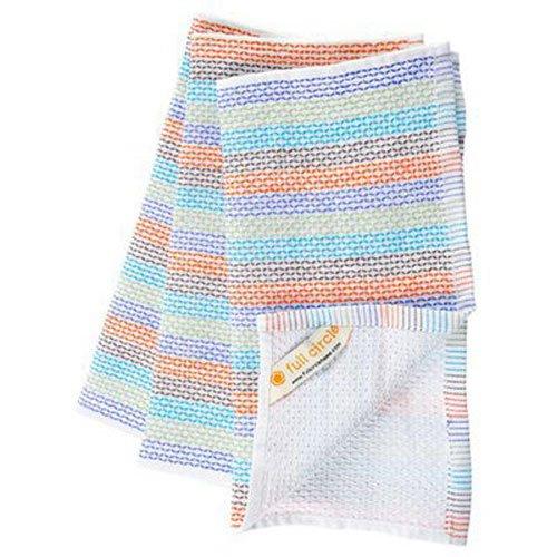 100 Cloths - Full Circle Tidy 100% Organic Cotton Dish Cloths, Set of 3, Multi