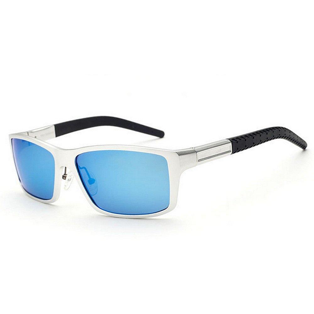 GWF Gafas de Sol polarizadas para Hombres Marco de Aluminio y magnesio Protección UV Conducción Gafas de Sol ambulantes Regalo del día del Padre (Color ...