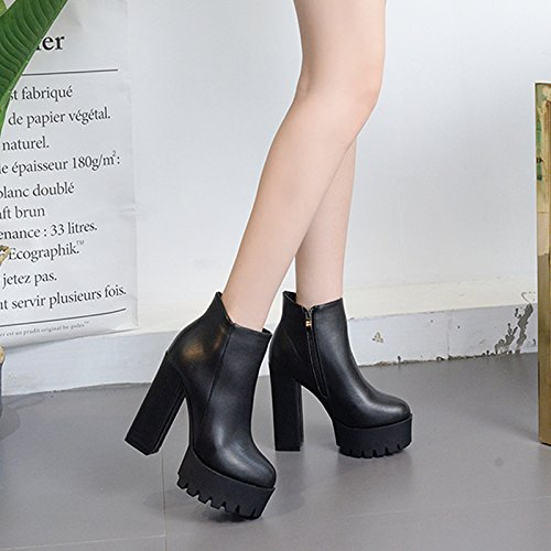 GTVERNH-Ladies high-heeled boots boots with thick autumn female Korean all-match round short tube students 34 black PXQrLtdP