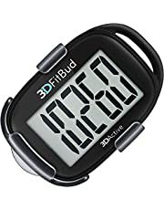 3DFitBud Simple Step Counter Walking 3D Pedometer with Lanyard A420S (Black with Clip)