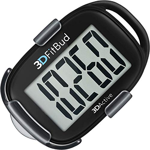 3DFitBud Simple Step Counter Walking 3D Pedometer with Lanyard, A420S (Black with Clip) (Track Pants With Buttons On The Side)