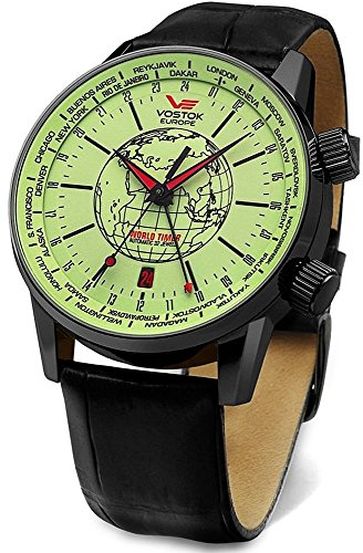 Vostok europe gaz-14 limousine world timer 2426/5604240 Mens automatic-self-wind watch