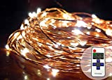 (US) Norsis LED Copper Wire Starry String Lights w/ Remote. Dimmable Fairy Lights, Indoor/Outdoor use, 33ft