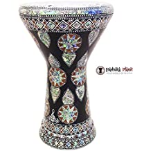 """The Egyptian Star Light Gawharet El Fan 18.5"""" Darbuka Doumbek Drum Sombaty Size With Real Green Mother of Pearl"""
