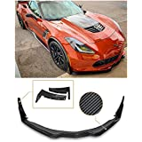 for 2014-Present Chevrolet Corvette C7 | EOS Z06 Stage 3 Style Carbon Fiber Front Bumper Lower Lip Splitter with Painted Carbon Flash Metallic Side Extension Winglets