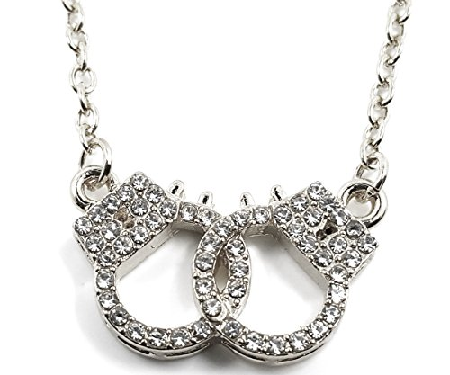 Small Petite Silver Tone Crystal Pave Handcuffs Necklace Halloween Fashion Jewelry (50 Shades Of Grey Halloween)
