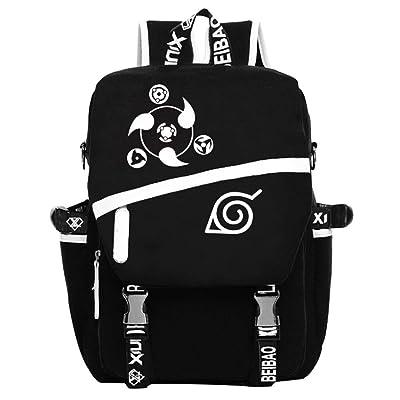 Gumstyle Naruto Anime Cosplay Luminous Laptop Backpack Rucksack Schoolbag Book Bag Unisex Student Black | Kids' Backpacks