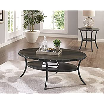 Beau Roundhill Furniture 3362C Biony Espresso Wood Nail Head Trim, Coffee Table