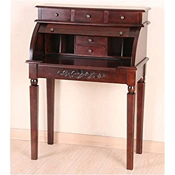 bowery hill roll top secretary desk in dual walnut stain