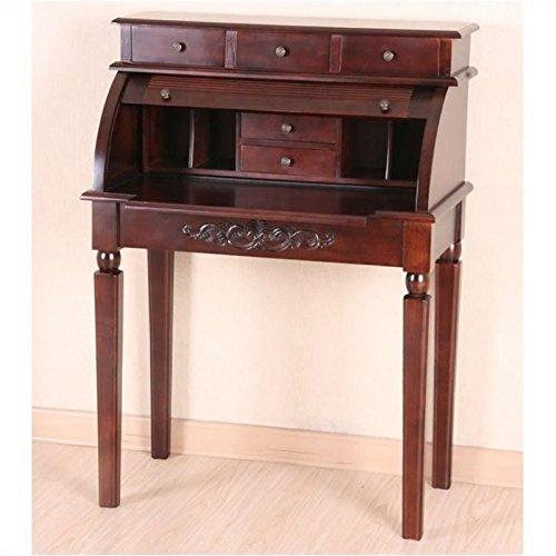 Bowery Hill Roll Top Secretary Desk in Dual Walnut Stain