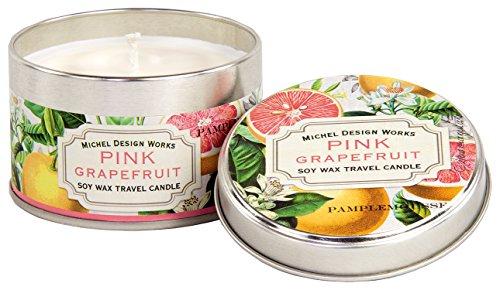 Pink Grapefruit Soy Candle - Michel Design Works Soy Wax Candle, Travel Tin Size, Pink Grapefruit