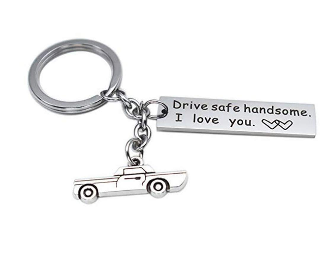 Tmrow 1Pc Drive Safe Keychain Gift for Boyfriend Husband Drive Safe Handsome I Love You
