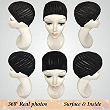 Fle Braided Cap for Crochet Braids or Weaves Adjustable Straps DIY Hair Wig Weaving Cap One Size Fit All Net Mesh Full Cap