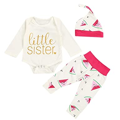 9e19a5caea2 Hatoys 3PCS Newborn Baby Girls Boys Letter Print Romper Jumpsuit +  Watermelon Pants+Headband Outfits