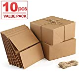 ValBox Premium Gift Boxes 10 Pack 8 x 8 x 4 Brown Paper Gift Boxes with 20 Meters Hemp Rope for Christmas Gifts, Bridesmaid Proposal Boxes, Easy Assemble Boxes