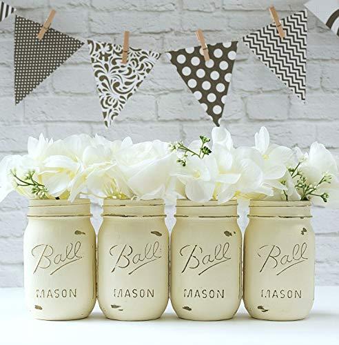 x2 Cream Mason Jars- Custom Painted Mason Jar - Mason Jars - Mason Jar Vase - Painted Mason Jar - Mason Jar Decor -Painted Mason Jars Centerpiece]()