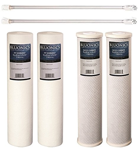 (UV Ultraviolet Light + Sediment & CTO Carbon Filter Set for our Well Water System > 4pcs 4.5