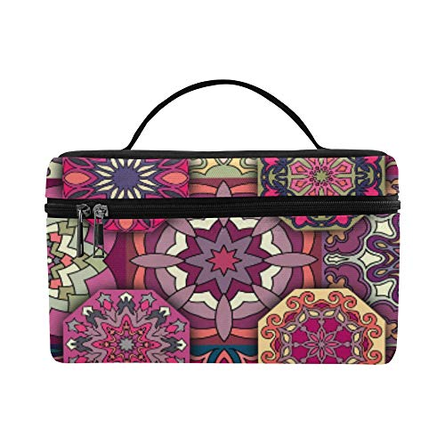 Colorful Vintage Floral And Mandala Elements Pattern Lunch Box Tote Bag Lunch Holder Insulated Lunch Cooler Bag For Women/men/picnic/boating/beach/fishing/school/work