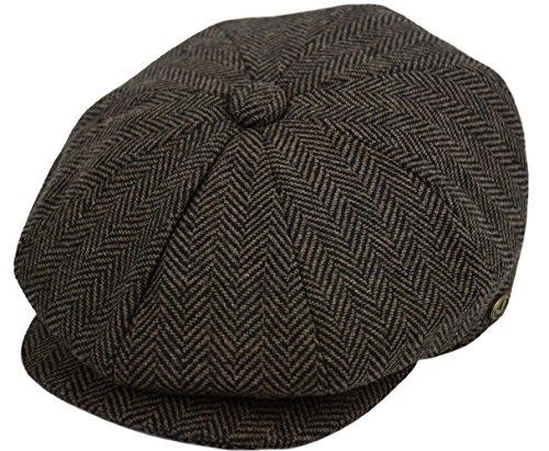 Apple Cap Newsboy Hat - Deewang Men's Wool newsboy Cap, Herringbone Driving Cabbie Tweed Applejack Golf Hat (2318-Brown, Large)
