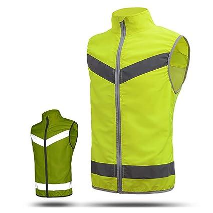Ligero y respirable Chaqueta de seguridad reflectante, chaleco de seguridad de alta visibilidad amarillo Chaleco