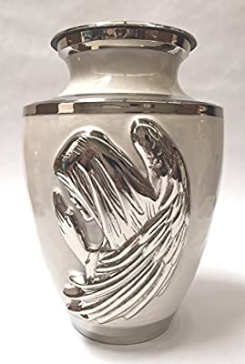 Mother of Pearl Brass Funeral Cremation Urn, Adult Memorial Ash Urn