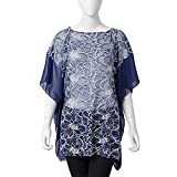 Navy and White Lace Flower Pattern 100% Polyester Summer Swimsuit Cover-ups Poncho 27.56x39.37