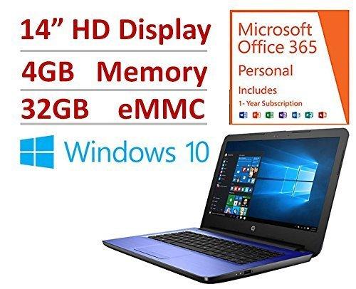 "HP 14"" Laptop PC Intel N3060 Dual Core 1.6 Ghz turbo up to 2.48GHz, 4GB RAM, 32GB eMMC, free 1-yr Office 365, DTS Studio, 802.11bgn WiFI, HDMI/VGA, HD Webcam, USB 3.0, 10/100 Ethernet, Windows 10"